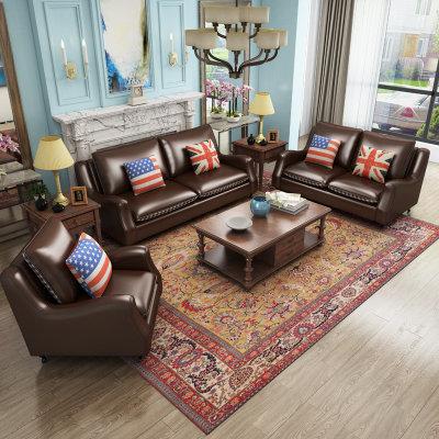 思巧 美式皮沙发客厅组合油蜡皮欧式沙发客厅转角沙发