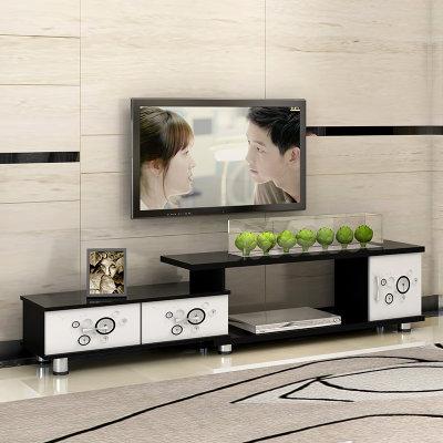 蔓斯菲尔简约现代电视柜欧式伸缩卧室小户型客厅电视机柜(白加黑)