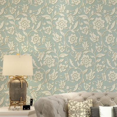 睐可欧式抽象复古墙纸 无纺布发泡植绒满铺壁纸 电视沙发床头背景