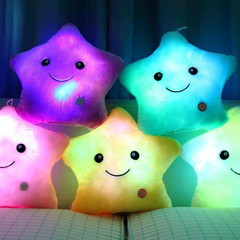 可爱发光星星毛绒玩具抱枕(白色 35*38cm发光音乐播放