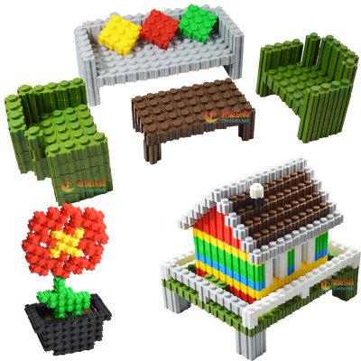 *百变积木拼插3d立体拼图儿童*桌面玩具乐高式塑料积木6岁(9色 6斤180